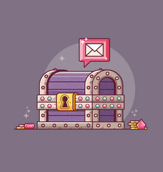 getting magic email from treasure chest vector image