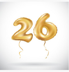 Golden number 26 twenty six metallic balloon vector