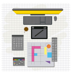Grid background with design environment with color vector