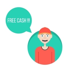 Guy in red baseball cap with free cash green vector