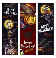 Halloween witch monsters sketch banners vector