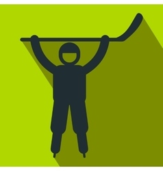 Happy hockey player flat icon vector