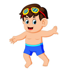 Happy little boy in swimsuit vector
