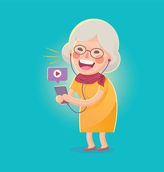 Happy Old Woman Watch Movie From Smart phone vector image vector image