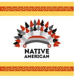 headwear native american with feathers accessory vector image