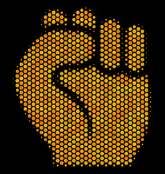 hexagon halftone fist icon vector image