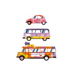 Hippie cars vector