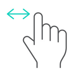 horizontal scroll thin line icon finger and vector image