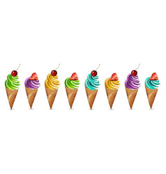 ice cream set colorful different flavors vector image