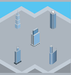 Isometric building set of skyscraper urban vector