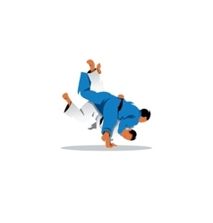 Judo sign Two judoka fighting among themselves vector image