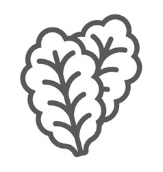 Leaf lettuce line icon vegetable and diet vector