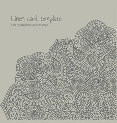 Linen grey brocade card template vector