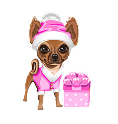 little dog in a santa claus hat vector image