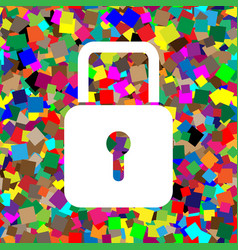 lock sign white icon on vector image