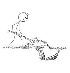 Man burying heart concept lost love cartoon vector