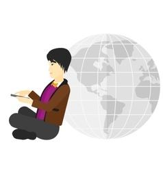 Man sitting near globe vector