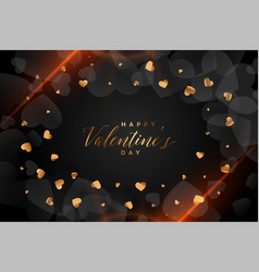 many golden hearts on black background with light vector image