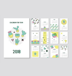 Memphis style abstract 2018 year calendar vector