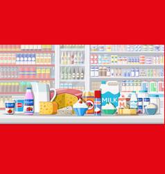 milk counter in supermarket vector image