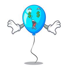 Money eye blue balloon bunch design on cartoon vector