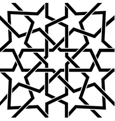 Moroccan tile black and white design moorish seam vector