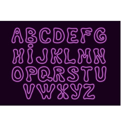Neon style alphabet with hand drawn letter shapes vector