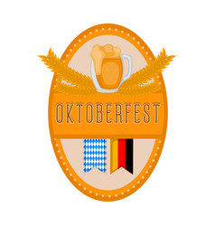 oktoberfest label with ornaments and a mug icon vector image