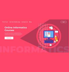 Online informatics courses lessons landing page vector