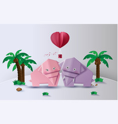 Origami made elephant love in the jungle vector