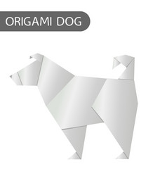 paper dog in origami style icon 2018 new vector image