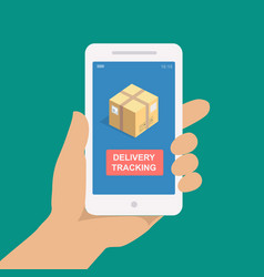 parcel tracking hand holding smartphone vector image