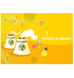 physics and energy template with chemical barrels vector image