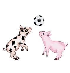 Piglet plays football vector