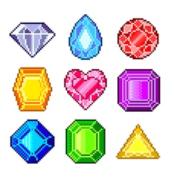 Pixel gems for games icons set vector