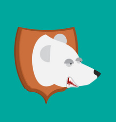 Polar bear hunter trophy head is northern vector
