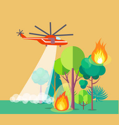 Poster of helicopter extinguishing wildfire vector