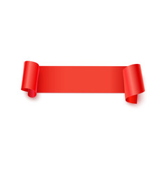 Red paper banner with curling corners 3d vector