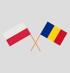 Romanian and polish flags vector