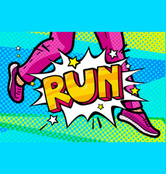 Run message in pop art style vector