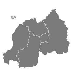 rwanda provinces map grey vector image