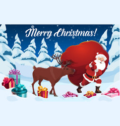 santa claus and reindeer with christmas gift bag vector image