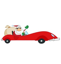 santa driving sports car vector image