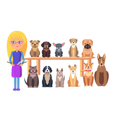 Schoolkid with book and dog group different breeds vector