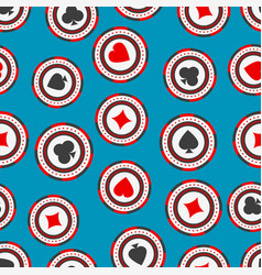 Seamless pattern of casino chips with card suits vector