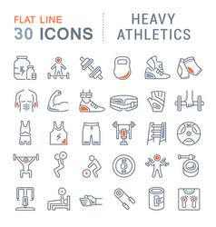 Set line icons heavy athletics vector