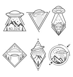 Set of six ufo emblems labels badges or logos vector