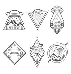 Set six ufo emblems labels badges or logos vector
