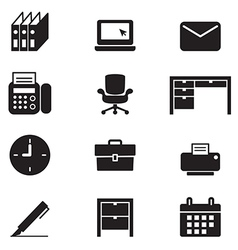 Silhouette office tools and stationery icons set vector image