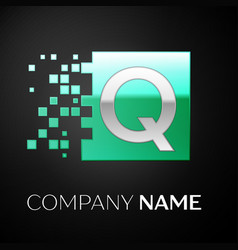 silver letter q logo symbol in the green square vector image